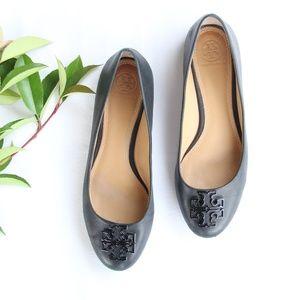 Tory Burch Melinda Leather Black Flats 7.5